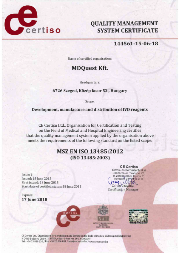 Successful ISO 13485 certification